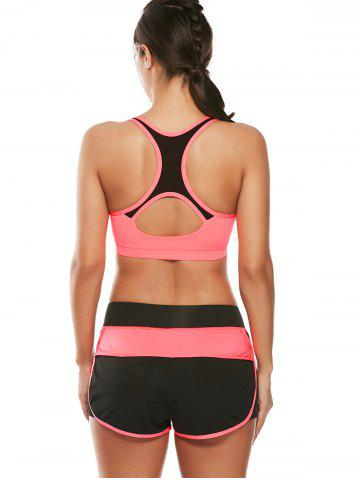 Outfits Strappy Sports Padded Bra and Layer Running Shorts - L WATERMELON RED Mobile