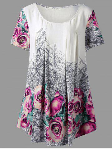 Cheap 3D  Printed Rose Plus Size Tunic Top FLORAL 4XL