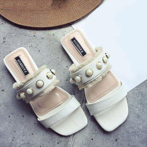 Shop Faux Pearls PU Leather Slippers