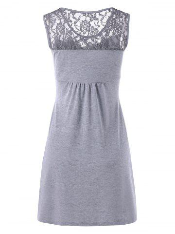 Chic Twist Front Lace Panel Sleeveless Dress - 2XL GRAY Mobile