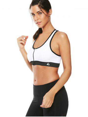 Chic Cutout  Racerback Padded Sports Zip Front Bra - WHITE M Mobile