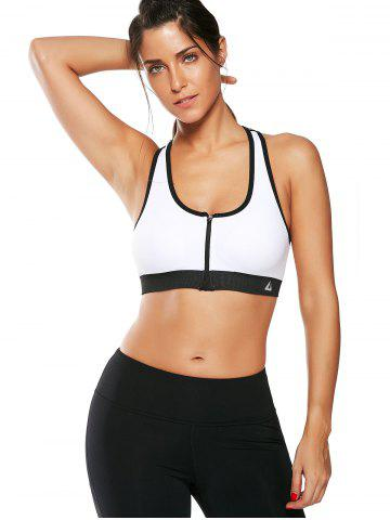 Chic Cutout  Racerback Padded Sports Zip Front Bra - WHITE L Mobile