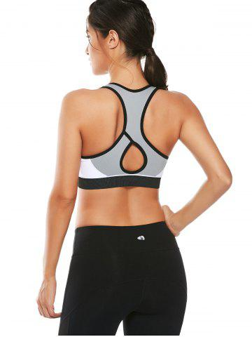 Affordable Cutout  Racerback Padded Sports Zip Front Bra - WHITE L Mobile