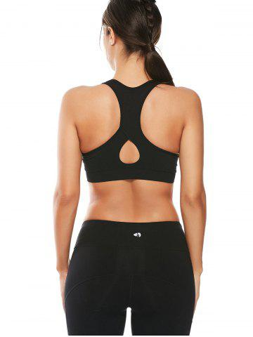 Store Cutout  Racerback Padded Sports Zip Front Bra - BLACK S Mobile