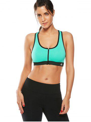 Online Cutout  Racerback Padded Sports Zip Front Bra - GRASS GREEN M Mobile