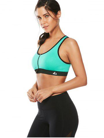 Discount Cutout  Racerback Padded Sports Zip Front Bra - GRASS GREEN M Mobile