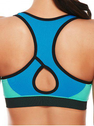 New Cutout  Racerback Padded Sports Zip Front Bra - GRASS GREEN M Mobile