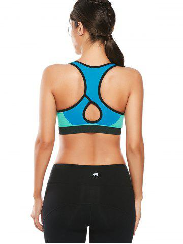 Affordable Cutout  Racerback Padded Sports Zip Front Bra - GRASS GREEN M Mobile