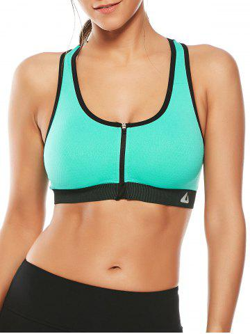 Online Cutout  Racerback Padded Sports Zip Front Bra - GRASS GREEN S Mobile