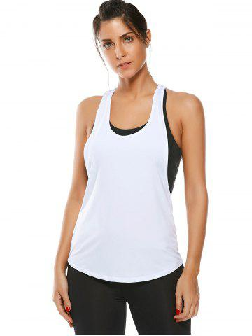 Affordable Racerback Work Out Layering Running Tank Top - L WHITE Mobile