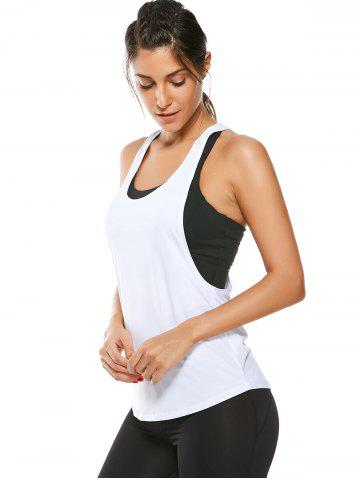 Best Racerback Work Out Layering Running Tank Top - L WHITE Mobile