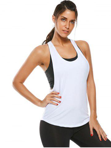 Unique Racerback Work Out Layering Running Tank Top - L WHITE Mobile