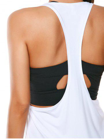 Sale Racerback Work Out Layering Running Tank Top - L WHITE Mobile