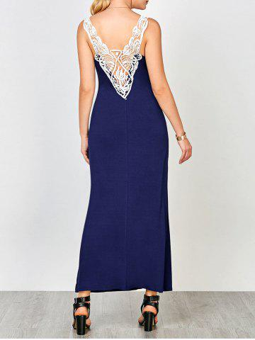 Cutwork U Neck Tank Dress - Deep Blue - 2xl