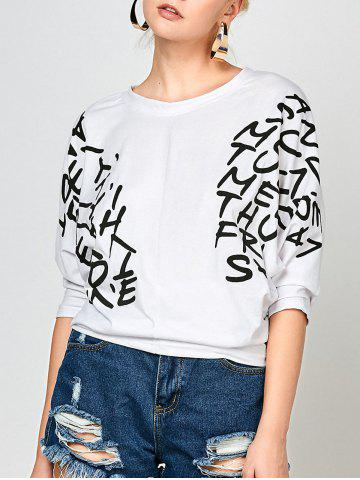 Fashion Letters Print Dolman Sleeve Graphic Top WHITE