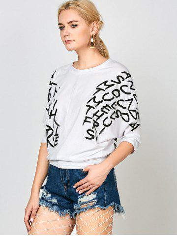Sale Letters Print Dolman Sleeve Graphic Top - WHITE  Mobile