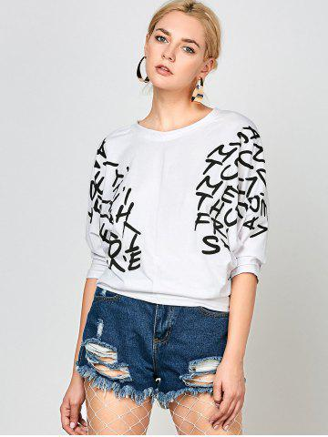 Shops Letters Print Dolman Sleeve Graphic Top - WHITE  Mobile