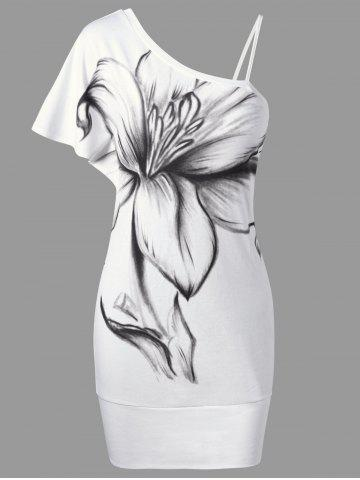 Store Floral Bodycon One Shoulder Dress - M WHITE Mobile