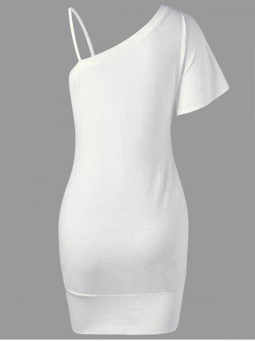 Discount Floral Bodycon One Shoulder Dress - 2XL WHITE Mobile
