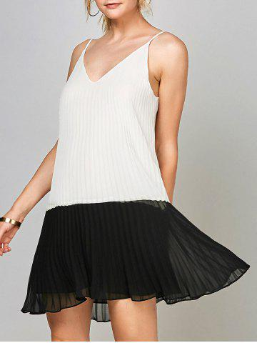 New Chiffon Open Back Pleated Slip Dress - M WHITE AND BLACK Mobile
