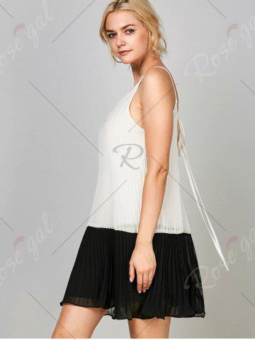 Best Chiffon Open Back Pleated Slip Dress - L WHITE AND BLACK Mobile