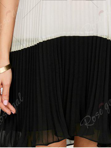 Store Chiffon Open Back Pleated Slip Dress - 2XL WHITE AND BLACK Mobile