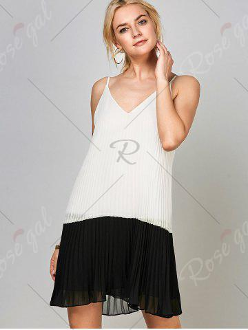 Best Chiffon Open Back Pleated Slip Dress - 2XL WHITE AND BLACK Mobile