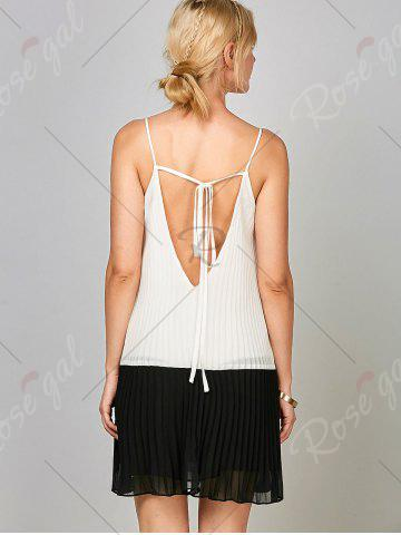 New Chiffon Open Back Pleated Slip Dress - 2XL WHITE AND BLACK Mobile