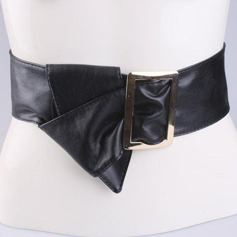 Buy Metal Rectangle Buckle Wide Faux Leather Belt