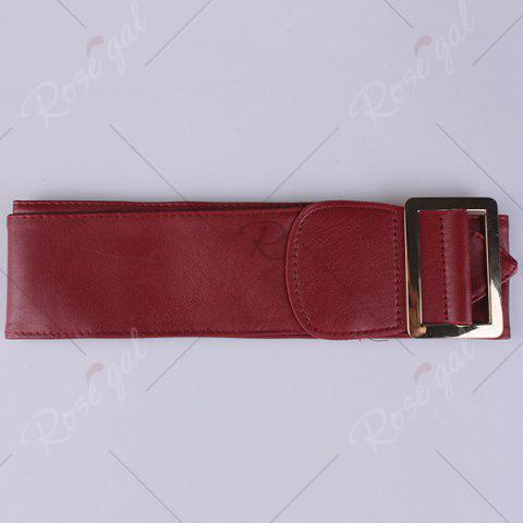 Shop Metal Rectangle Buckle Wide Faux Leather Belt - WINE RED  Mobile