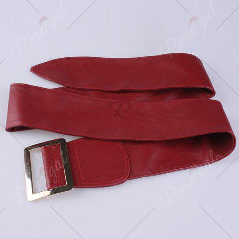 Sale Metal Rectangle Buckle Wide Faux Leather Belt - WINE RED  Mobile