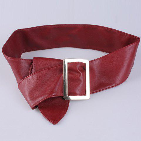 Best Metal Rectangle Buckle Wide Faux Leather Belt WINE RED