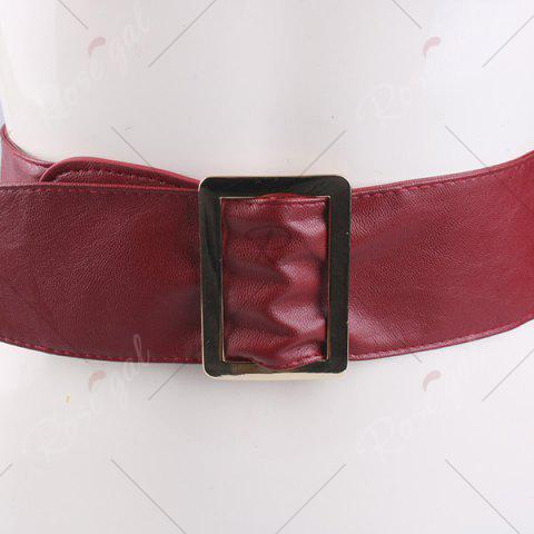 Store Metal Rectangle Buckle Wide Faux Leather Belt - WINE RED  Mobile