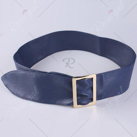 Hot Metal Rectangle Buckle Wide Faux Leather Belt - BLUE  Mobile