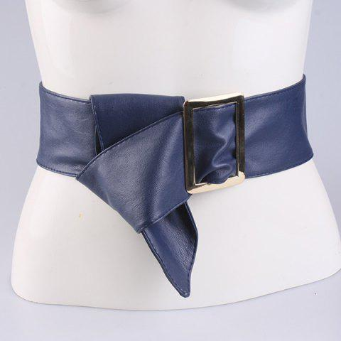 Sale Metal Rectangle Buckle Wide Faux Leather Belt - BLUE  Mobile