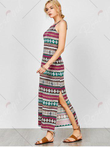 Store Aztec Print Backless Maxi Slip Summer Dress - M COLORMIX Mobile
