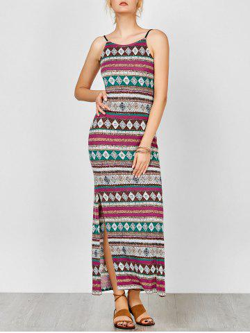 Affordable Aztec Print Backless Maxi Slip Summer Dress COLORMIX M
