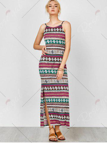New Aztec Print Backless Maxi Slip Summer Dress - M COLORMIX Mobile