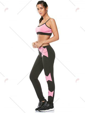Trendy Sports Padded Bra and Two Tone Fitness Leggings - S PINK Mobile