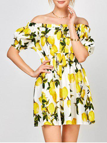 Chic Off The Shoulder Lemon Print Summer Dress