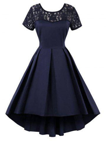 High Low Lace Insert Vintage Dress - Purplish Blue - 2xl
