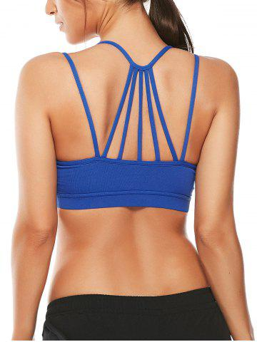 Affordable Strappy Padded Workout  Bra - S BLUE Mobile