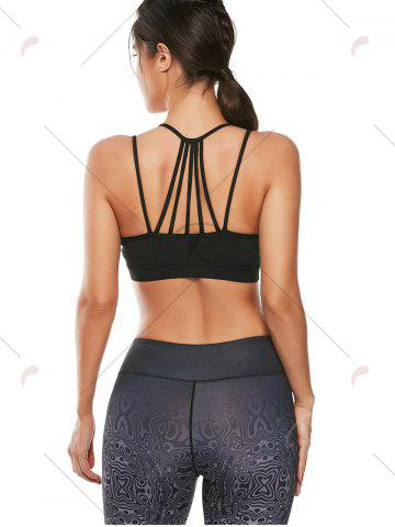 Affordable Strappy Padded Workout  Bra - M BLACK Mobile