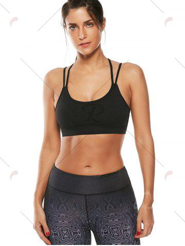Outfit Strappy Padded Workout  Bra - M BLACK Mobile