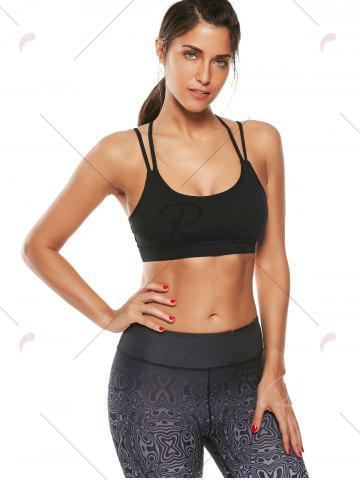 Chic Strappy Padded Workout  Bra - M BLACK Mobile