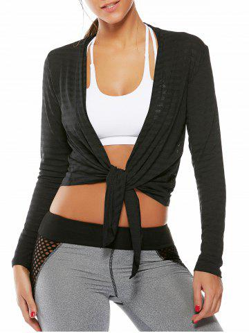 Trendy Collarless Quick Dry Front Wrap Top BLACK M