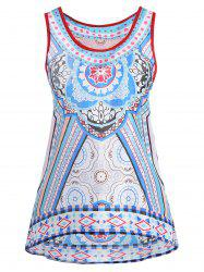 Tribal Print Racerback High Low Tank Top