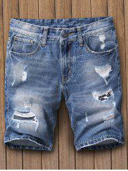 Faded Ripped Denim Shorts