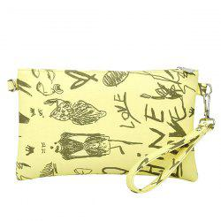 Faux Leather Doodle Print Wristlet - YELLOW