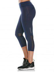 Cropped Fitness Leggings with Mesh Panel - DEEP BLUE